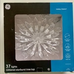 GE Glitter starburst tree topper with 37 lights